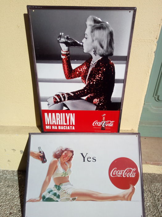 2 Coca Cola ads on sheet metal - 1990s