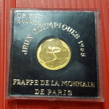 France – Medal 'Olympic Winter Games Grenoble 1968' – 1.77 g gold