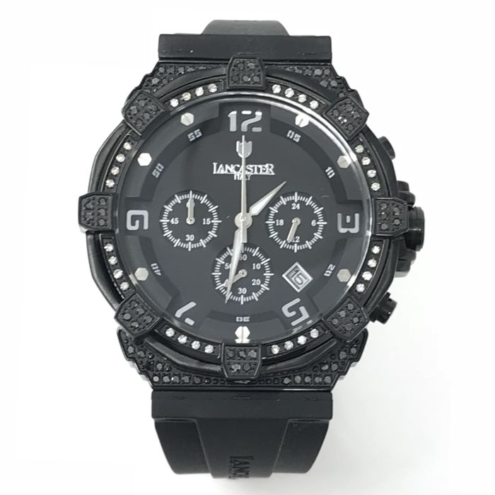 Lancaster - Robusto Diamond Chrono Watch 41X15 mm Black 1.12ct - OLA0441L/BK/NR/SL/NR - Dames - NEW