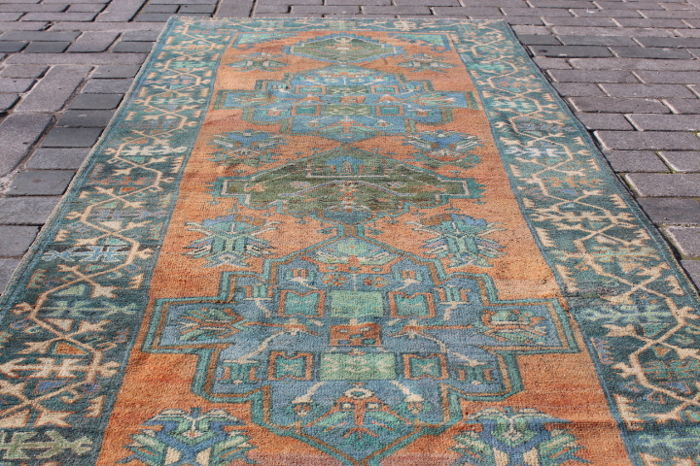 Hand Knotted Wide Runner Rug from Konya, Turkey, 138 x 360 cm
