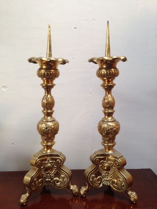 Set Church candlesticks, brass - France - ca. 1850