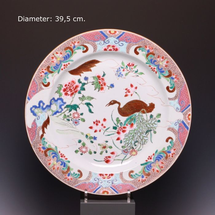 Beautiful large Famille rose porcelain dish - flowers and a goose - China - 18th century (early Qianlong period)