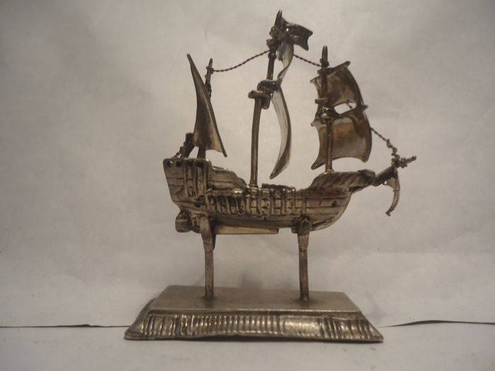 Silver Sailing Ship Miniature Italy, mid-20th c