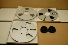 3 x metalen Ampex 26 cm + 2 x Adaptyers