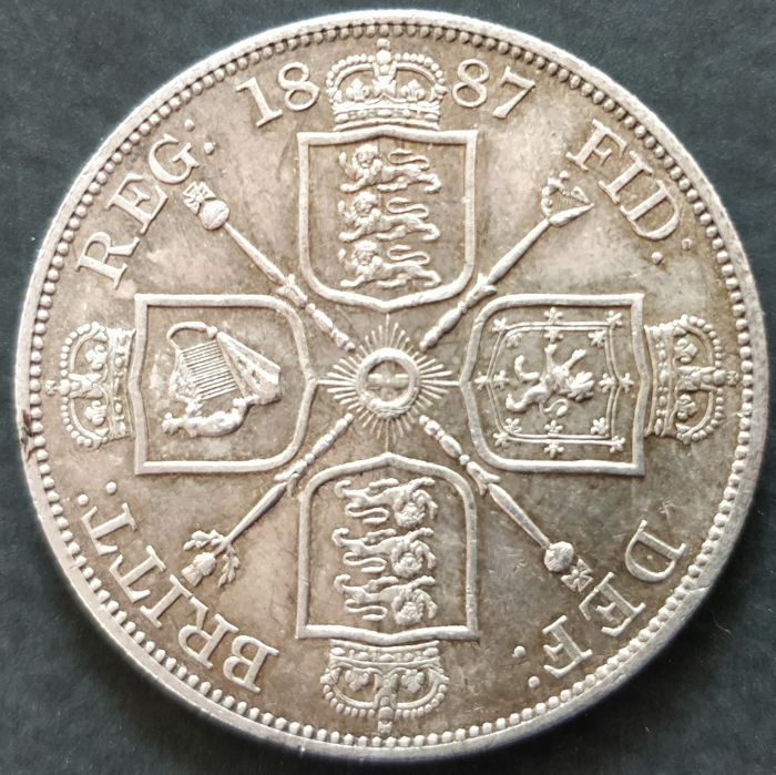 United Kingdom - Double Florin 1887 (Arabic 1) Victoria - silver