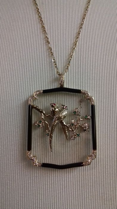 Carrera y Carrera - Exclusive necklace with gold chain and Japanese-style pendant with birds