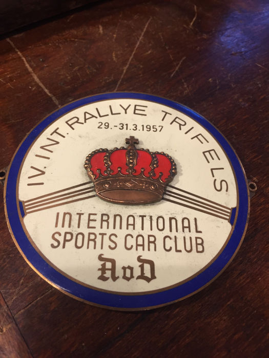 AvD cooler plate rally 1957 - international Sports Car Club