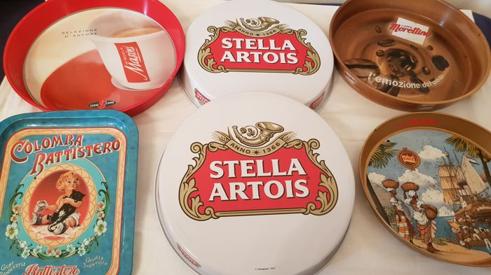 Interesting lot of 6 advertising trays : Birra Stella Artois - Caffè Morettino - Colomba Battistero - Esse Caffè