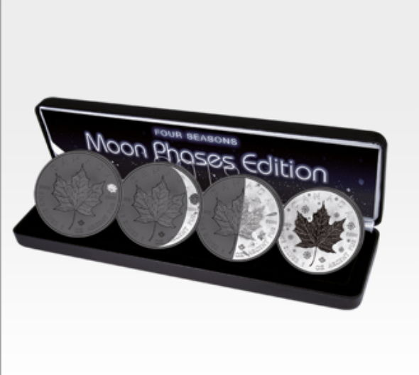 Canada - 4 x 5 CAD - Maple Leaf 999 Silver Coin - 4 Seasons - Phases of the Moon 2018 - Black Ruthenium
