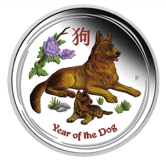 Australia - 1 Dollar 2018 Year of the Dog - 1 oz - Argento