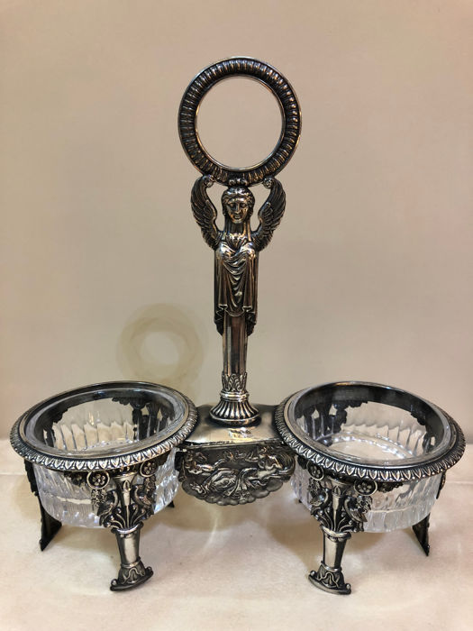Silver double saltcellar, France , 1819-1838