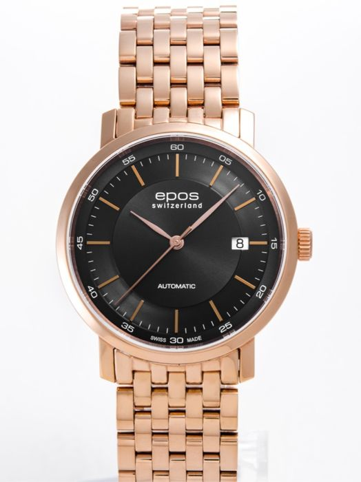 Epos - Epos pink Gold plated men's watch - 3387-S/S-RG-BLK - Hombre - 2011 - actualidad