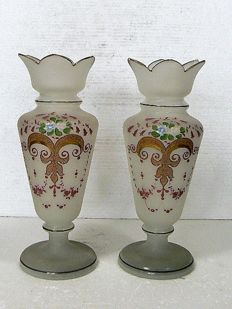 A pair of decorated opaline vases, France, late 19th century
