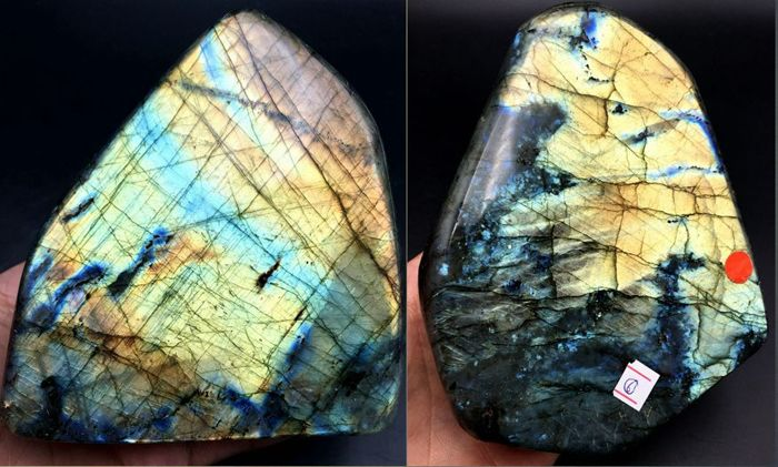 Natural Many flash Labradorite - 108x105x51mm -138x110x41mm - 2044gm (2)