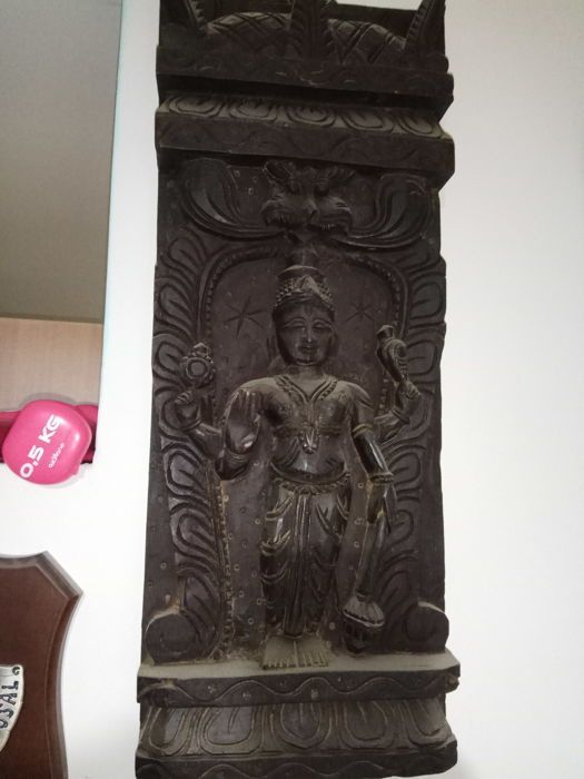 Large wooden panel of Vishnu - India - 2nd half 20th century (50cm)