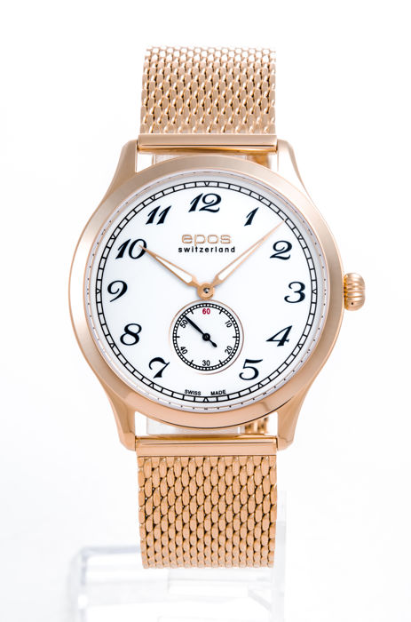 Epos - Pink Gold plated with bracelet men's watch - 3408-S/S-RG-WHT-ARAB - Men - 2011-present