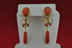 Red Coral Antique Dangle Earrings set on Hand made 18k Yellow Gold - Size 40mm x 10mm x 12mm