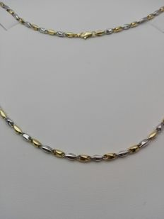 'Maistrello' unisex necklace in 18 kt white and yellow gold Weight: 10.4 g