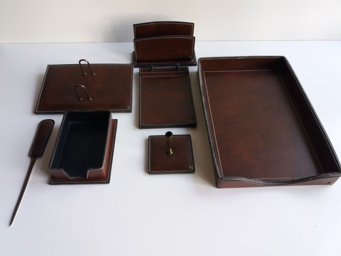 Complete 7 piece leather desk set