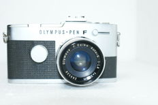 A fine Olympus Pen FT with lens Olympus F Zuiko Auto S 1:1.8 F + 38mm from circa 1963 to circa 1967.