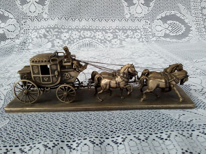 Silver Carriage with Four Horses F.lli Passera Vercelli (Italy), first half 20th c
