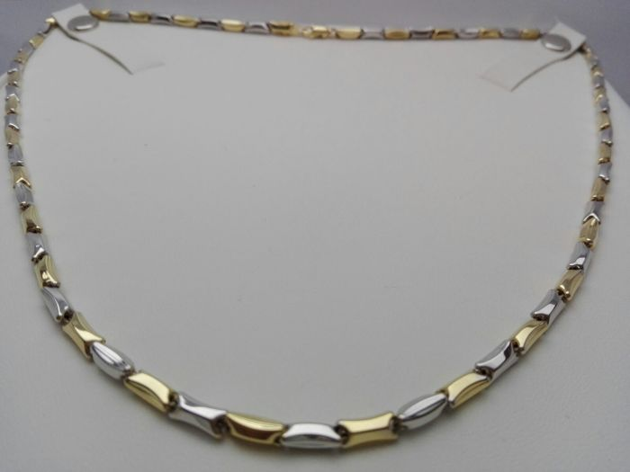 18 kt yellow and white gold unisex necklace by 'Cerini' Weight 13.9 g - Necklace length 50 cm