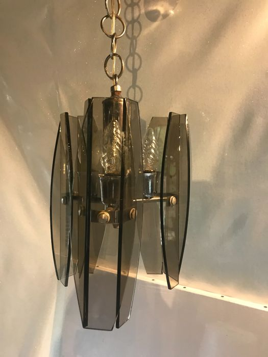 Unknown designer – Chromed steel pendant light with wide smoked glass sides