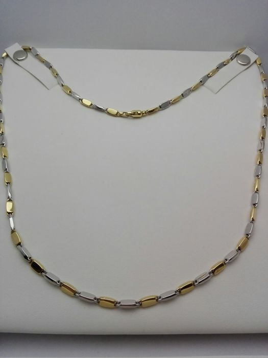 "Unisex ""Maistrello"" necklace in 18 kt white and yellow gold. Weight: 13.3 g."
