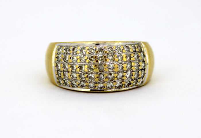 Vintage 18k yellow gold ring with diamonds (1 ct total) c.1970's