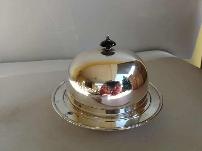 Silver plated muffin dish with insert and Bakelite pinnacle, Seacon Plate