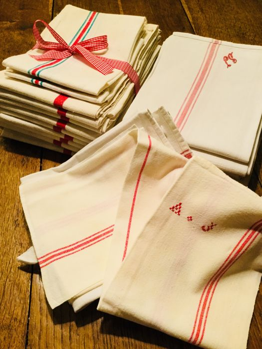 Lot of 25 high quality large linen and cotton kitchen towels ...