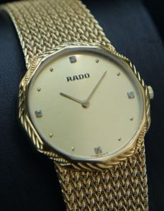 RADO - Luxury  Swiss Watch-Bracelet  - Full 18kt gold plated with diamonds  - Masculin - NEVER WORN