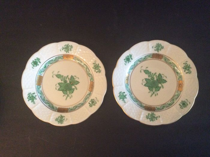 Herend bouquet green dish 6 cake plates apponyi for Decor traduction