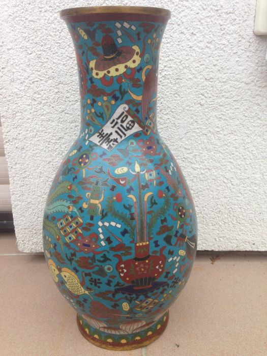 """Large Cloisonné Vase"", early 20th century Japan, probably a copy? of a Ming vase."