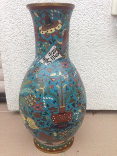 """""""Large Cloisonné Vase"""", early 20th century Japan, probably a copy? of a Ming vase."""