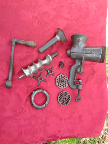 Rare perfect manual meat grinder and sausage maker, very antique kitchen tool