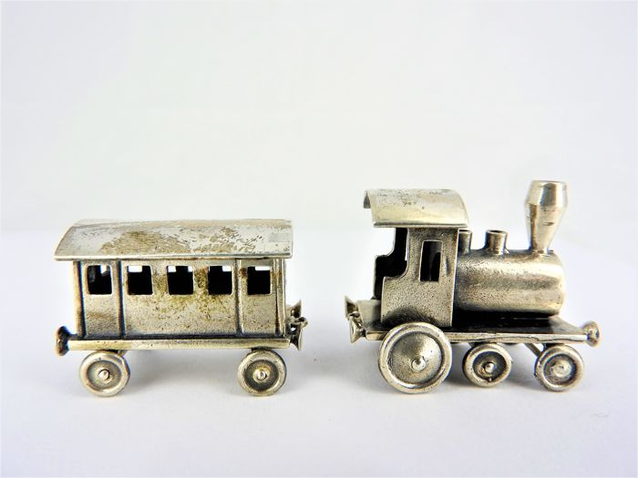 Silver miniature Locomotive & Wagon - Italy Pieve al Toppo (AR) - Giovanni Raspini srl - after 1972