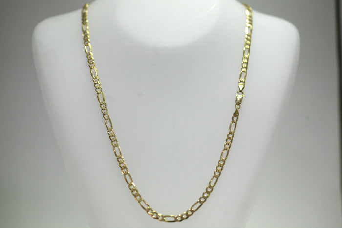 Necklace - Figaro chain flat and solid - half diamond coated - made of 333 / 8 kt yellow gold - length 52 cm
