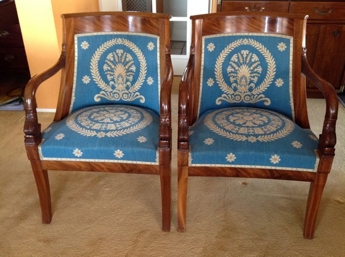 Pair of mahogany Empire style armchairs - France - late 19th century