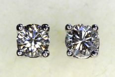 * NO RESERVE PRICE * - 18 kt white gold earrings with a total of 0.47 ct of diamonds - F, IF internal Flawless