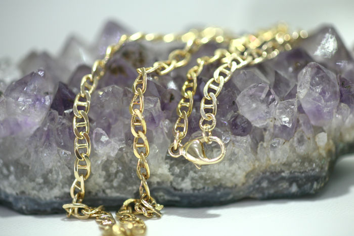 Necklace - solid bar curb chain - made of 333 / 8 kt yellow gold - length 50 cm