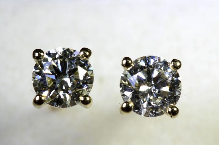 2ccfa3007 NO RESERVE PRICE * - 18 kt white gold stud earrings with diamonds, 0.67