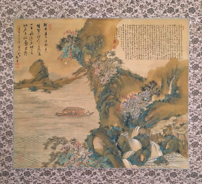 'Many Waterfalls in Blossoming Spring Mountain landscape' by Seishu - old large handpainted scroll painting on cloth, incl old wooden box - Japan - ca. 1922