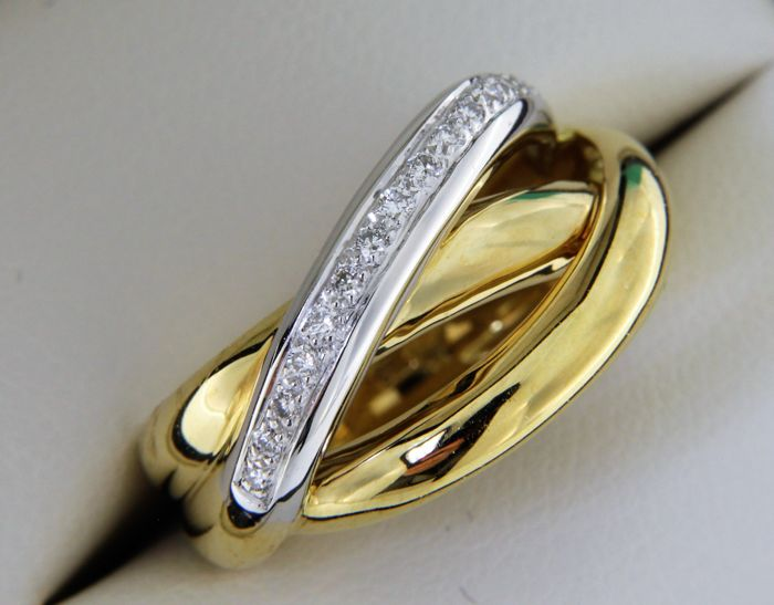 Jewellery cocktail ring in 18 kt gold + Diamonds - Finger size: 56