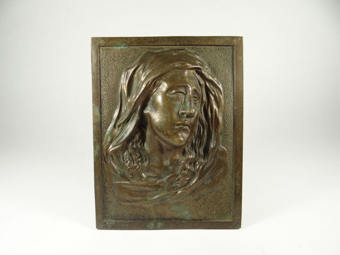 Art Nouveau bronze icon Mother of God in mourning made by artist but not signed alto relief France late 19th century period