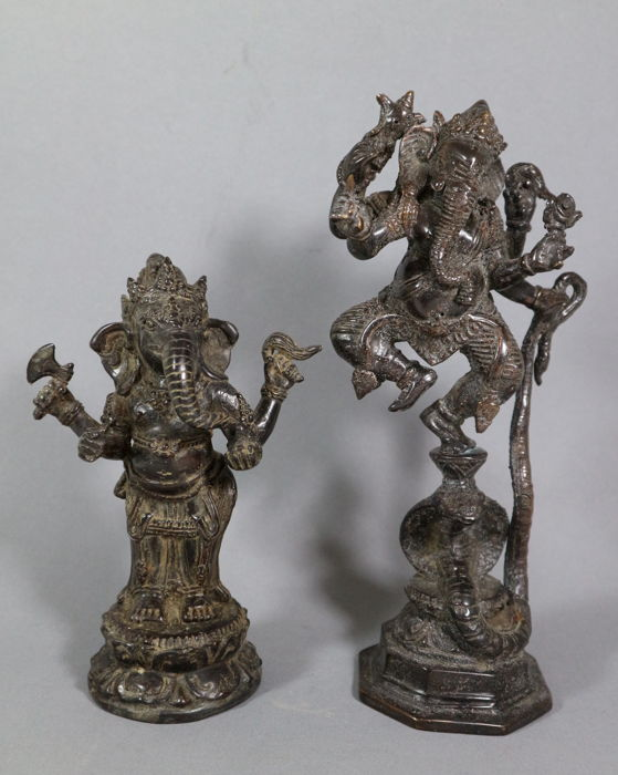 Two bronze Ganesha figures - India - second half 20th century