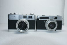 Two rangefinder cameras: a Minolta AL F and a Minolta - Minoltina P made in the 1960s