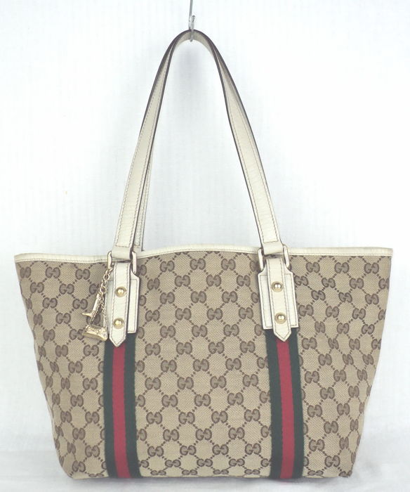 a5531918ff35 Gucci - GG Monogram Canvas & Leather Sherry Line Tote/Shoulder Bag