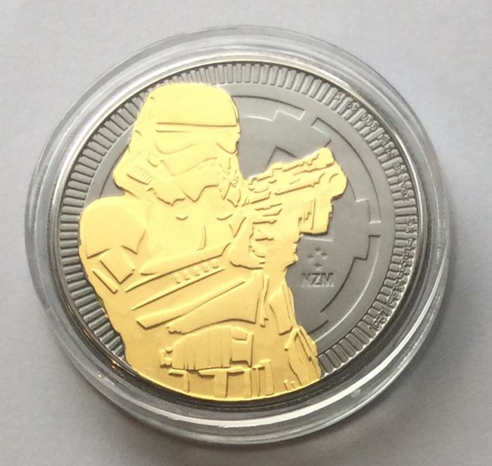 Niue 2 Dollars 2018 Star Wars Stormtrooper Rutheniumgold Plated