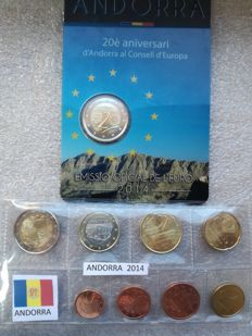 Andorra – Complete KMS 2014 – 8 coins (1 Cent to 2 Euro) S/C, plus 2 Euro 2014 commemorative coin: '20th Anniversary of Andorra's Acession to the EC'